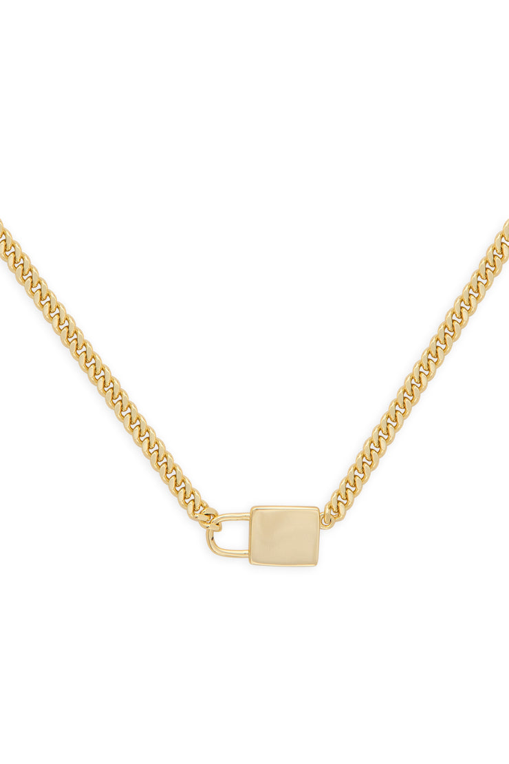 Ashley Childers, Gold Lock and Chain Necklace