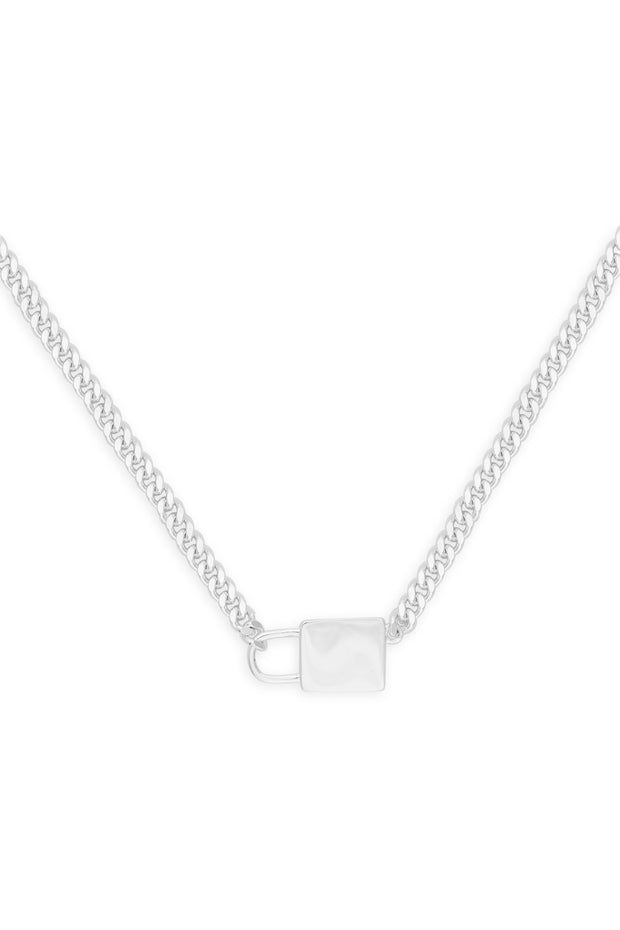 Ashley Childers, Lock and Chain Necklace, Silver