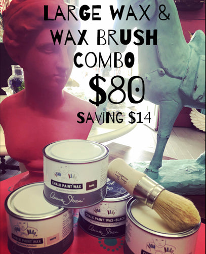 Large Wax & Wax Brush Combo - White