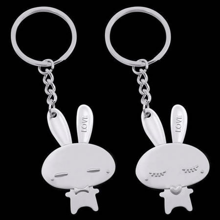 His & Her Bunny Keyring
