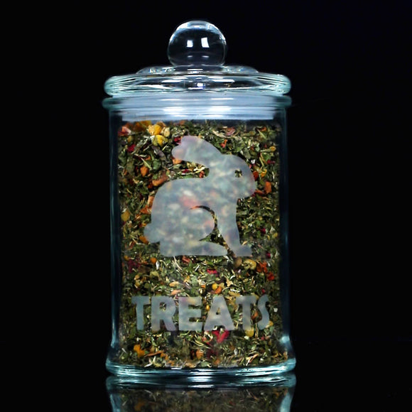 Glass Bunny Treat Jar w Herbs