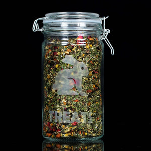 Glass Bunny Treat Pop Jar w Herbs