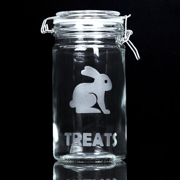 Glass Bunny Treat Pop Jar