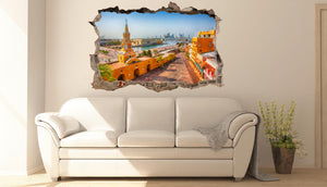 FOTOMURAL 3D PARED CON PLAZA COLONIAL DEKOADHESIVO