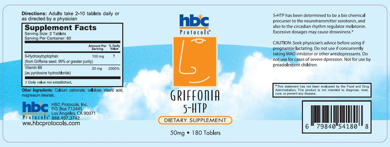 5-HTP with Griffonia – 180 Tablets, 50mg each