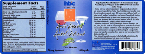 Image of Anti-Alcohol Anti-Oxidants - 180 Capsules