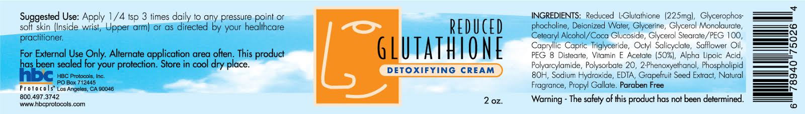 Reduced Glutathione Transdermal Cream