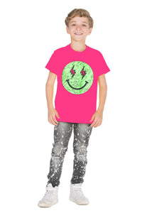 J Balvin Happy Face Pink T-Shirt Kids