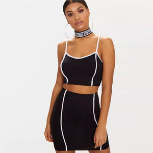 White Line Patch Strappy Crop Top Mini Skirt Set