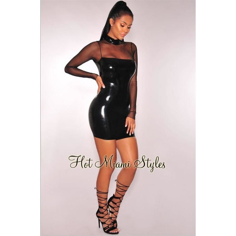 Black Latex Miami Style Mesh Long Sleeves Dress