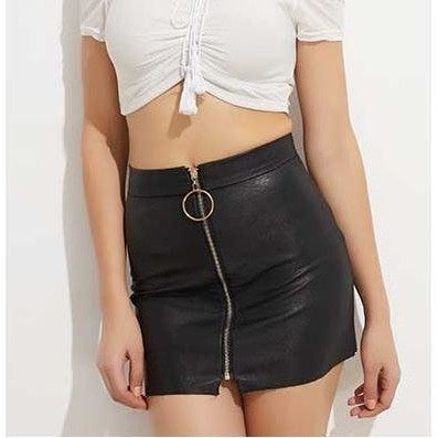 Front Zipper PU- Leather Mini Skirt