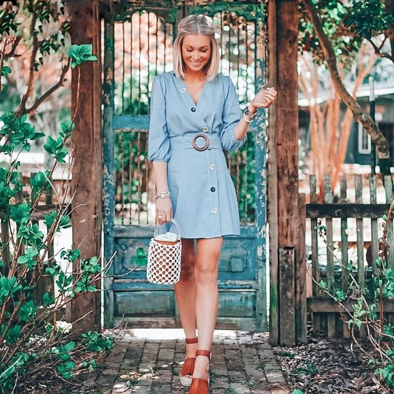 Viscose long Sleeve Dress - Blue Belle Alley