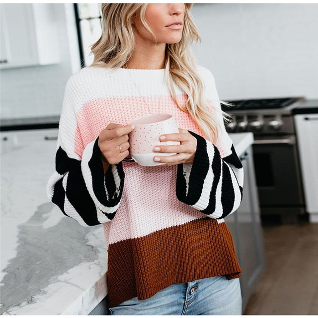 Casual O-Neck Long Sleeve Knitted Pullover