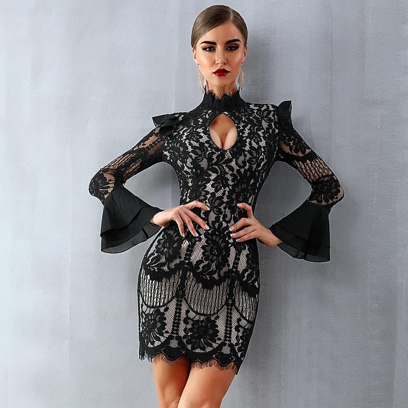 BLACK FLORAL LONG SLEEVE LACE DRESS