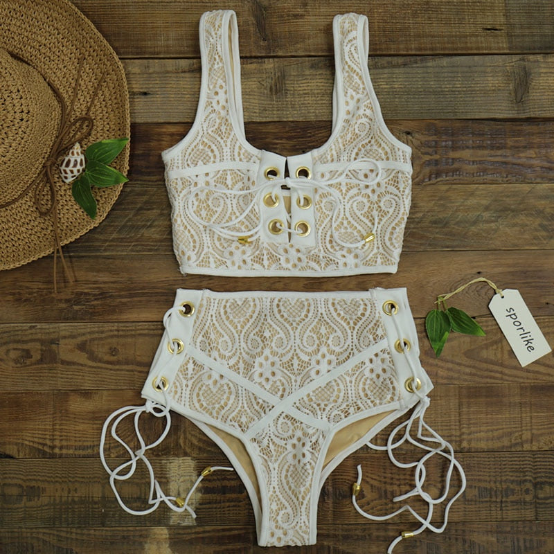 Laced Two piece Euro Style Swimsuit - Blue Belle Alley