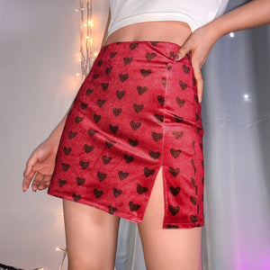 A line velvet heart mini skirt size small