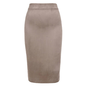 Camel Faux Suede Skirt - Blue Belle Alley