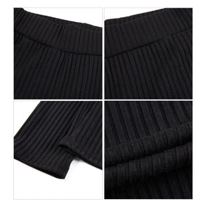 Knit Ribbed Women High Waist Pencil Pants