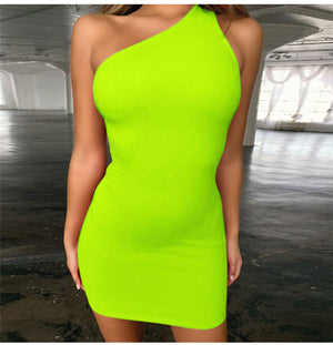 Sweet Love Ruched one Shoulder Mini Dress In Neon Yellow