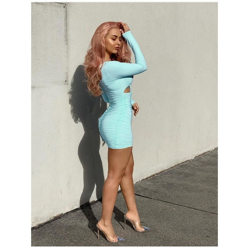 Short Cut Long Sleeve Ruched Bodycon Mini Dress