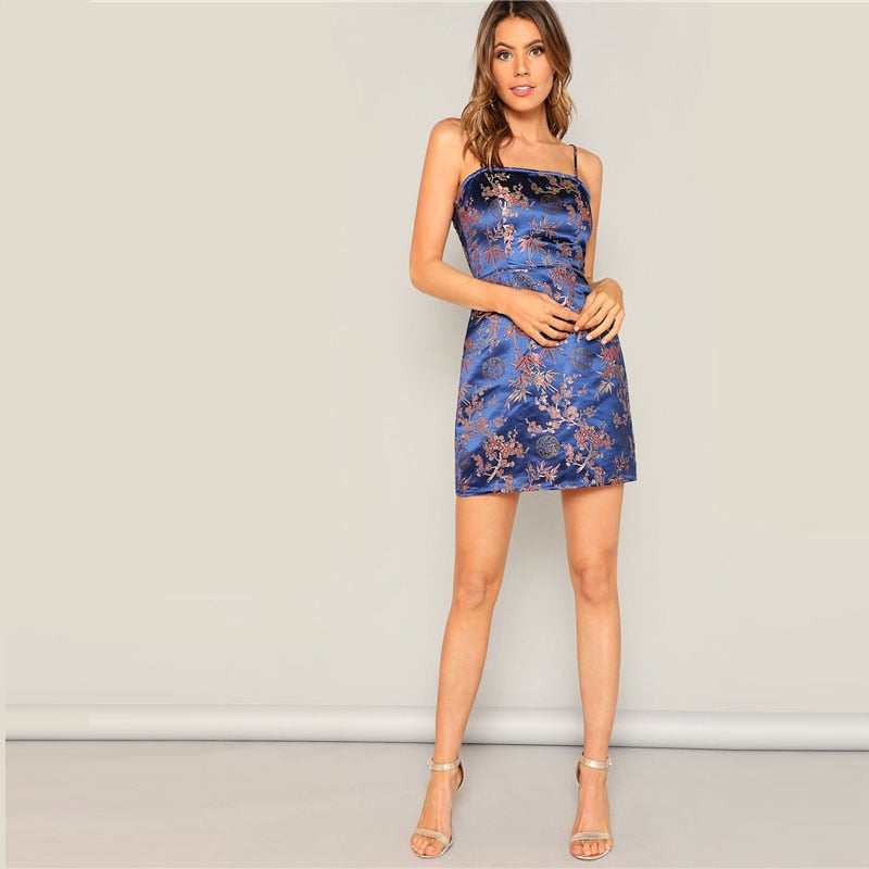 Silky Floral Jacquard Dress - Blue Belle Alley