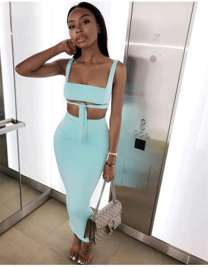 Double Layer Sexy Two Piece Crop Top