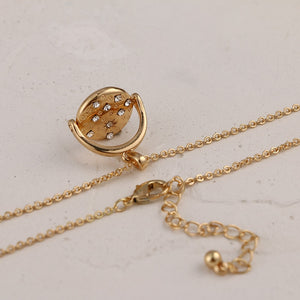 Gold Metal Round Rhinestone Pendant - Blue Belle Alley