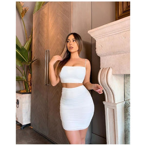 High Waisted Ruched Bodycon Set