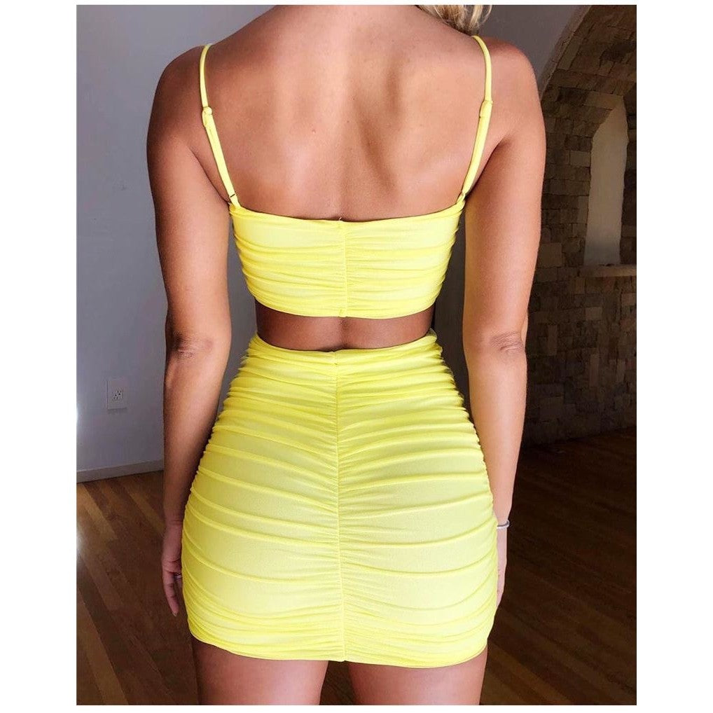 Matched High Waisted Ruched Bodycon Mini Skirt & Top