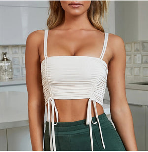 LEARN THE BASICS STRAPPY RUCHED CROP TOP