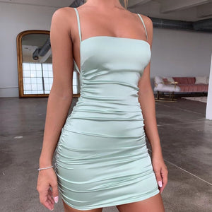 Silk Square Neckline Mini Dress