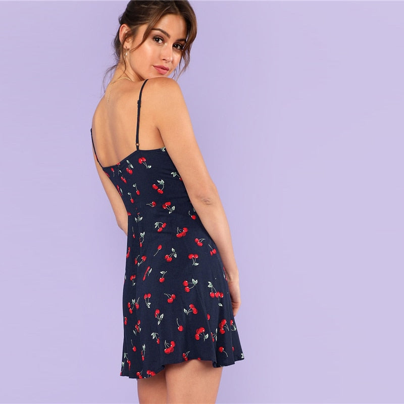 Cherry Print Cami Dress - Blue Belle Alley