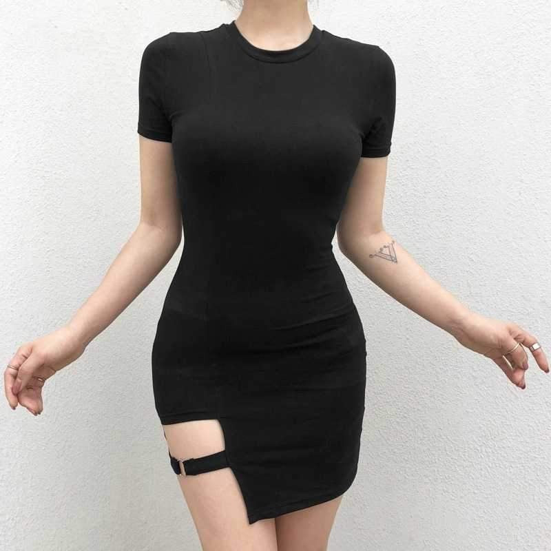 Asymmetrical Short Sleeve Mini Dress