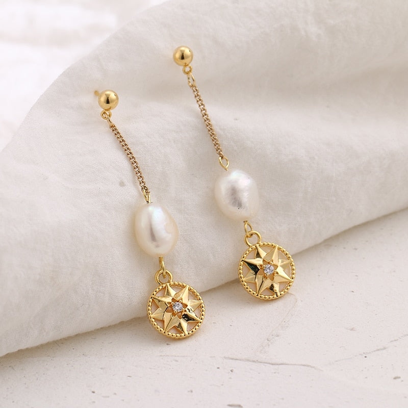 Pearl Shell Long Drop Earrings - Blue Belle Alley