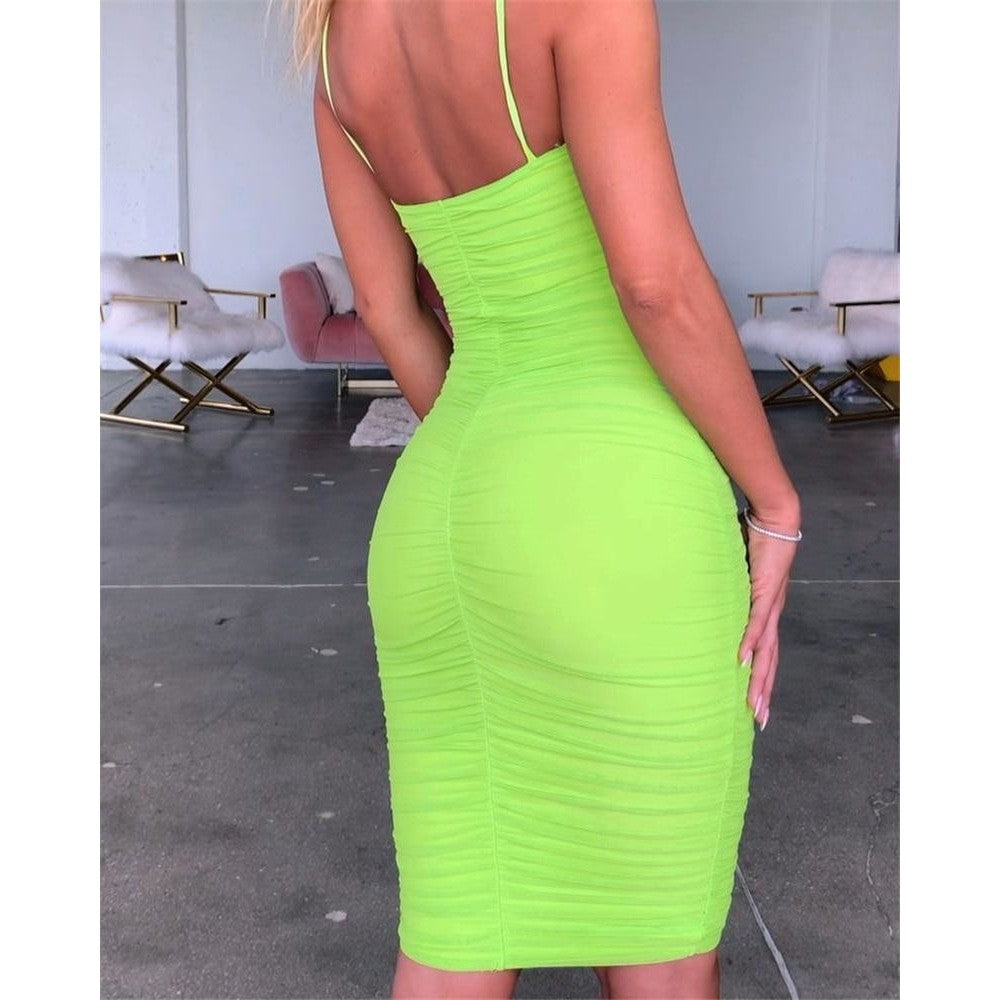 FIRST DATE RUCHED MESH BODYCON KNEE LENGTH DRESS