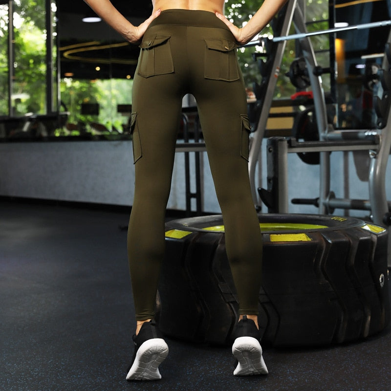 Army Green or Black High Waist Leggings
