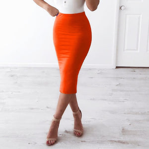 2 Layers High Waist Stretch Pencil Midi Skirt