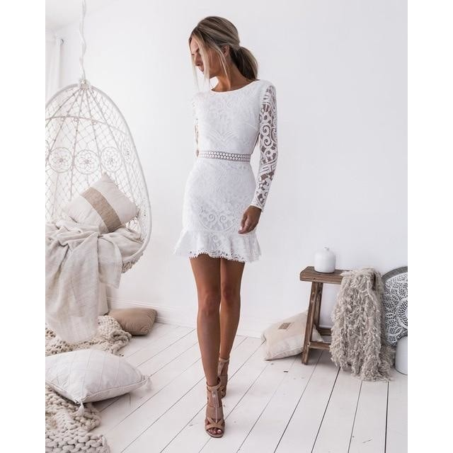 O-Neck Long Sleeves Short White Lace Cocktail Dress