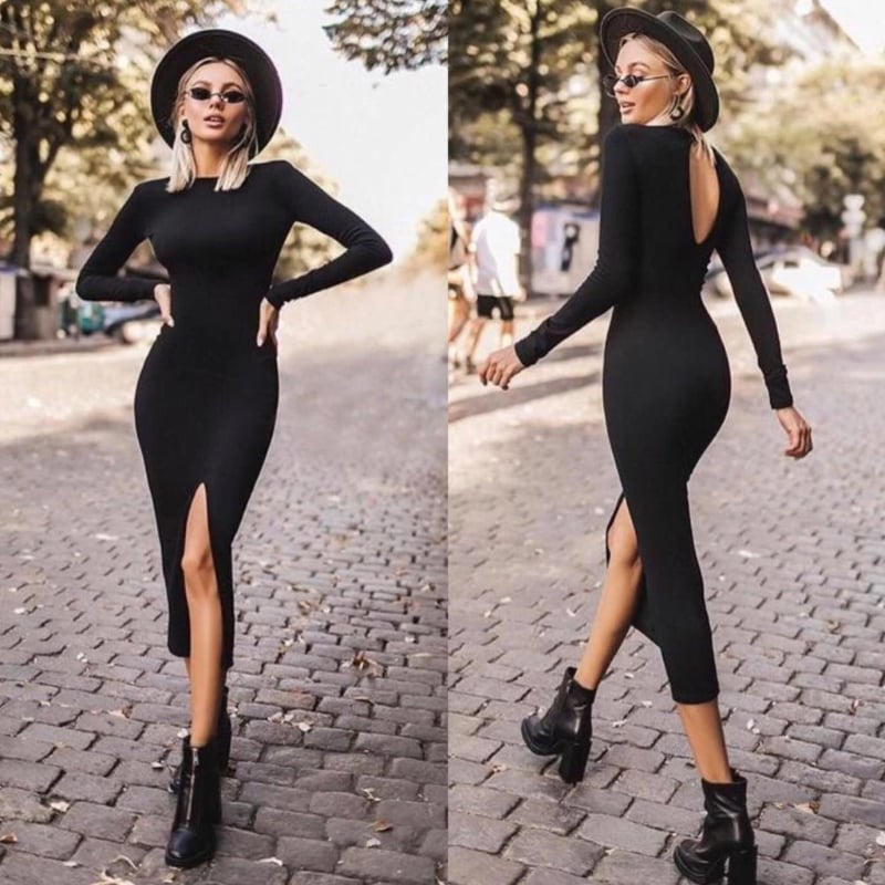 Mid Length Black Party Dress