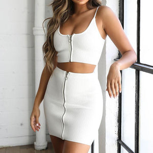 BANDAGE SEXY 2 PIECES SETS STRAP ZIPPER TOP WITH MINI SKIRT