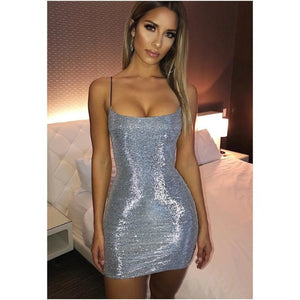 Kayla Mini Dress - Black or Silver/Grey Glitter
