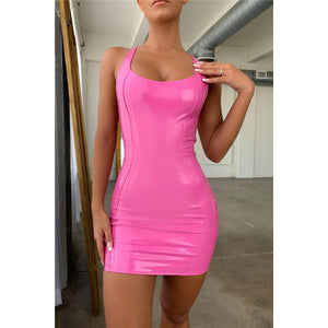 BAD GIRL SCOOP NECK VINYL MINI DRESS IN PINK