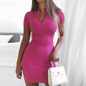 Zip Front Bodycon Mini Dress