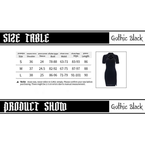 Retro Black Short Sleeve Gothic Dress