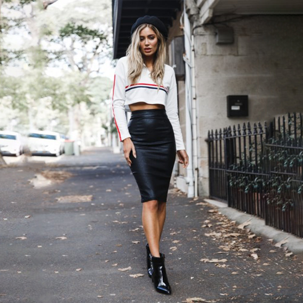 Perfect Pencil Faux Leather Skirt