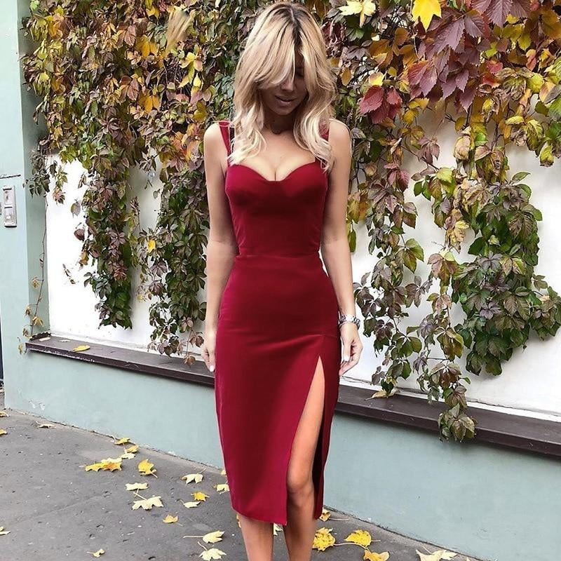 Thigh High Slit Velvet Dress