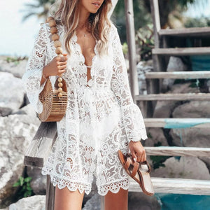 Deep v-neck bikinis 2019 Mujer Sexy White swimsuit female beach cover-up Lace see though beach wear Long sleeve elegant swimwear
