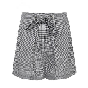 Tie up casual plaid shorts - Blue Belle Alley