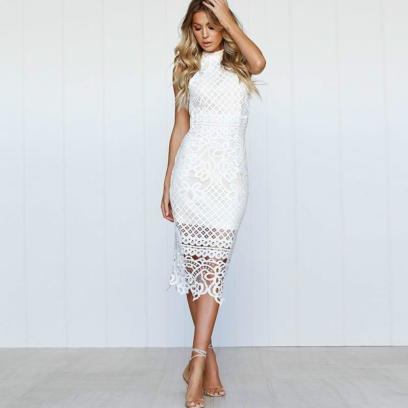 White bodycon lace midi dress