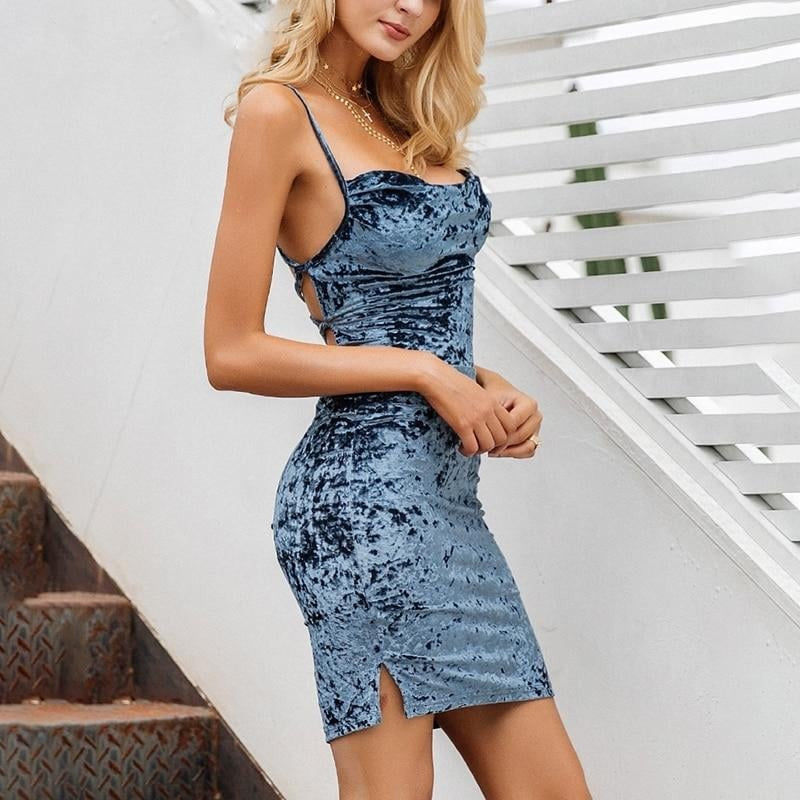 Velvet strap backless mini dress - Blue Belle Alley